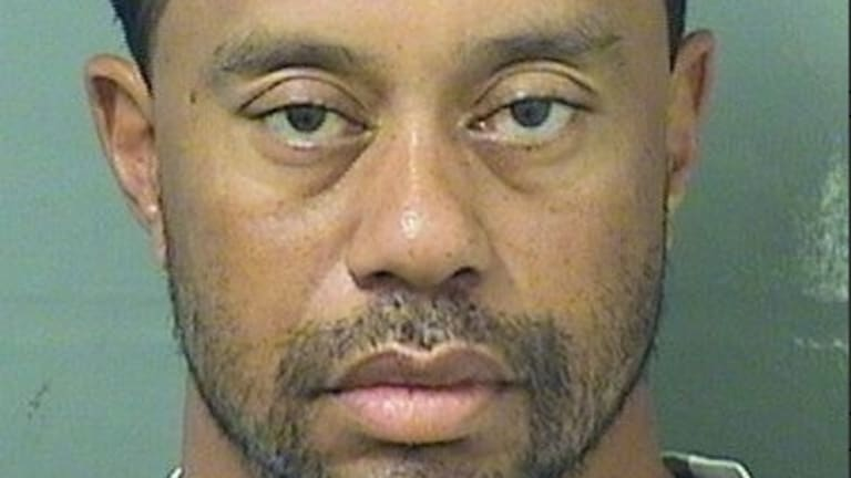 Tiger Woods' mugshot after being arrested on a DUI charge.
