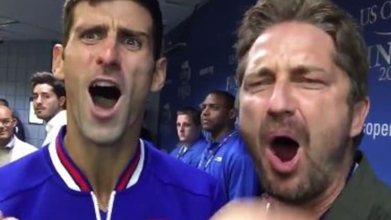 Battle cry: Novak Djokovic and Gerard Butler ham it up.