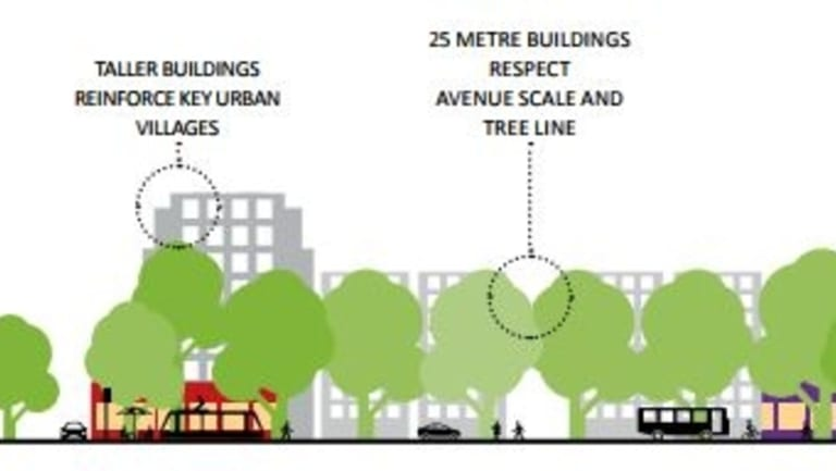 "A government discussion document which envisages unspecified ""taller heights"" on Northbourne Avenue. The scale does not suggest 50 metres."