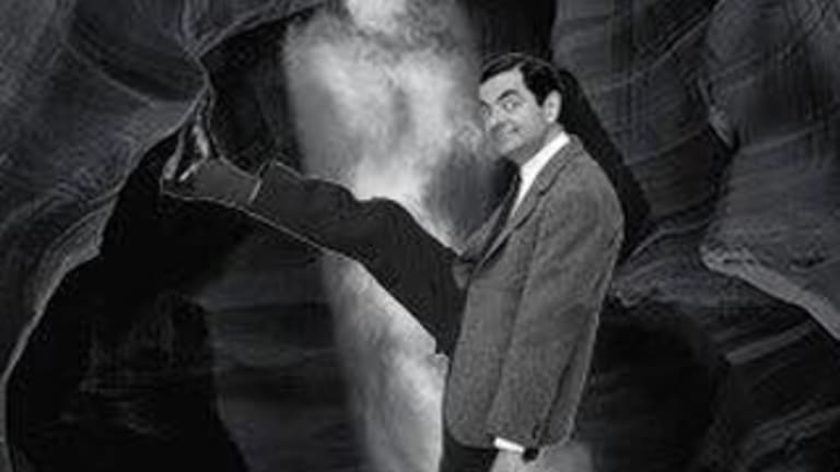 Sceptics: A meme of Peter Lik's work Phantom with Mr Bean in the foreground of the landscape shot.