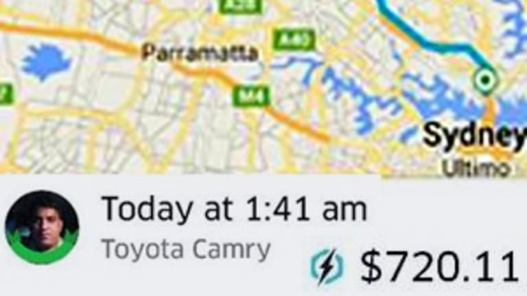 Uber surge pricing saw this ride from the CBD to Blacktown cost more than $700.