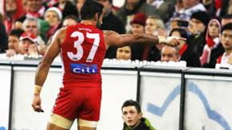 Adam Goodes calls out racism at the MCG in 2013.