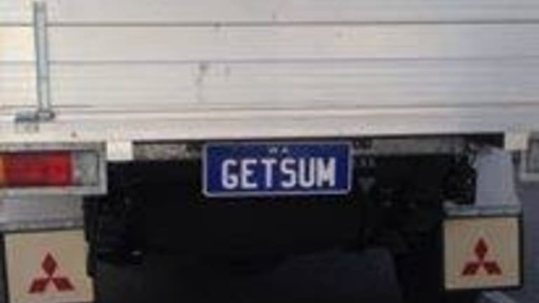 One of WA's personalised number plates.
