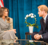 Prince Harry speaks during a bilateral meeting with US First Lady Melania Trump ahead of the start of the 2017 Invictus Games in Toronto, Canada.