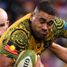 Outta my way: Lukhan Tui had a sensational impact off the bench for the Wallabies.