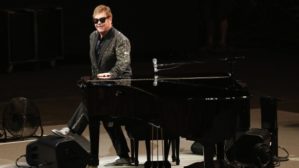One of a kind: Rock legend Elton John performing at the WIN stadium in Wollongong.