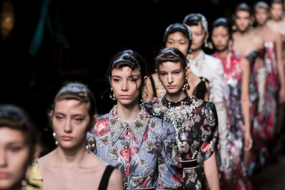 Models on the runway at Erdem during their Spring/Summer 2018 runway show at London Fashion Week in London