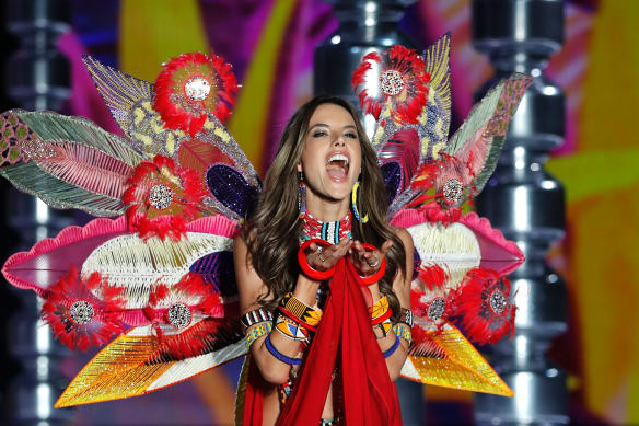 Model Alessandra Ambrosio wears a creation during the Victoria's Secret fashion show after announcing her retirement.