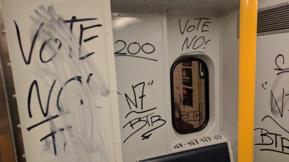 "Train vandalised in Sydney with ""Vote no"".?"