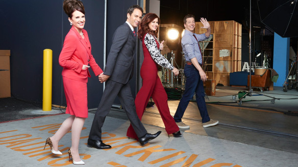 They're back: Megan Mullally, Eric McCormack, Debra Messing and Sean Hayes back on the NBC set.