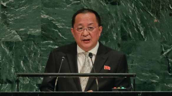 """North Korean Foreign Minister Ri Yong-Ho called US President Donald Trump """"a mentally deranged person full of megalomania""""."""
