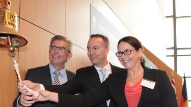 Dalrymple Bay chair David Hamill, CEO Anthony Timbrell and CFO Stephanie Commons. The company shed 16 per cent of its value on its first day of trading on the ASX.