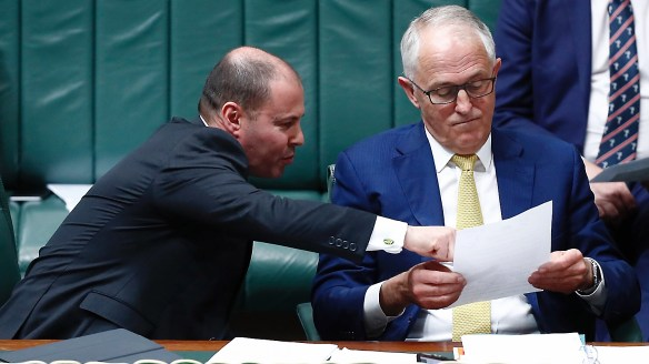 Minister for Environment and Energy Josh Frydenberg and Prime Minister Malcolm Turnbull during Question Time at Parliament House, in Canberra on Monday 16 October 2017. fedpol Photo: Alex Ellinghausen