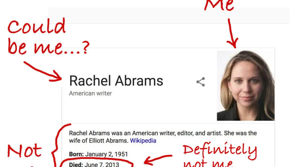 Rachel Abrams: Google thinks I am dead. Now I have to prove otherwise