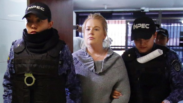 Cassandra Sainsbury arrives for a court hearing in Bogota in July.