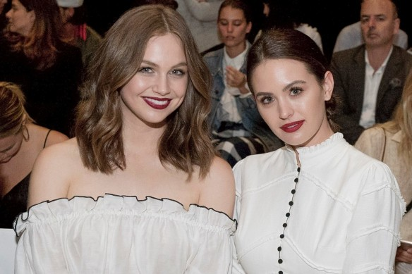 Ksenjia Lukich (left) and Jesinta Franklin show their style at the Aje show this year.