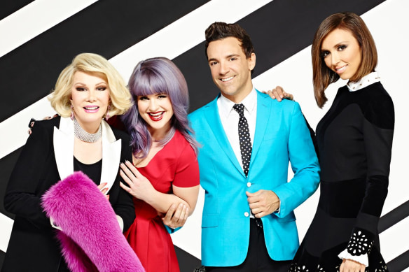Joan Rivers, Kelly Osbourne, George Kotsiopoulos, Giuliana Rancic in a supplied Fashion Police pic from 2013.