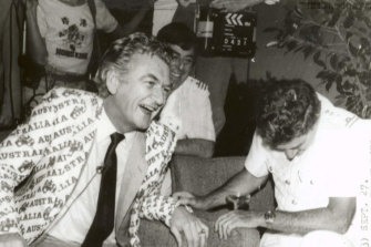 "Bob Hawke, celebrating Australia's win in he 1983 America's Cup, famously declared: ""Any boss who sacks anyone for not turning up today is a bum."""