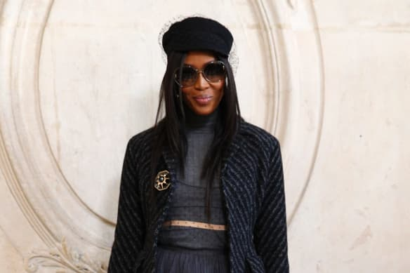 Naomi Campbell was one of many celebrities at the Dior show.