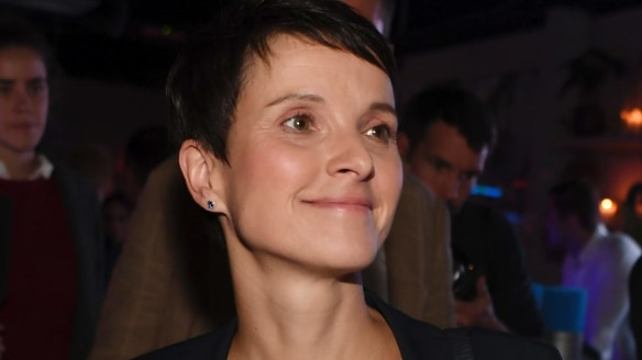 Frauke Petry of Alternative for Germany party, AfD, arrives at the AfD election party in Berlin, Germany.
