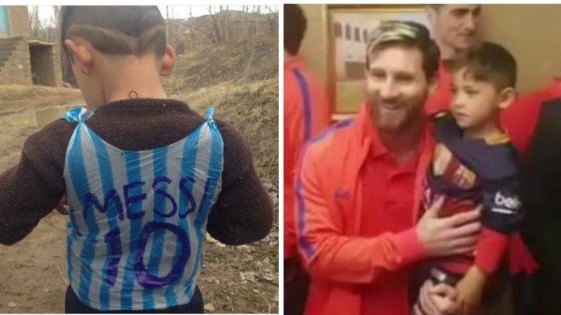 c30a4b548 Lionel Messi meets Afghan boy Murtaza Ahmadi famed for plastic bag shirt