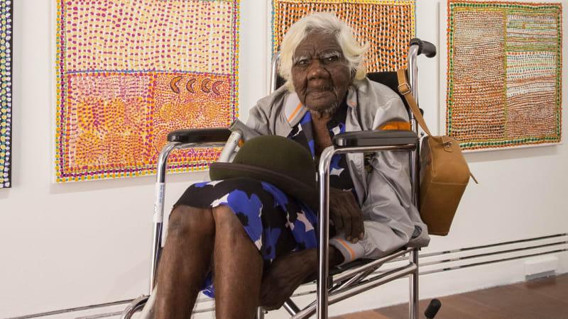105-year-old Nyikina artist Loongkoonan steals the show at Adelaide Biennial of Art