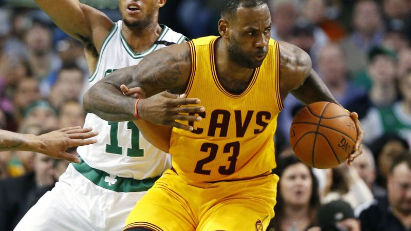 e815fcff LeBron James gifts game shoes to special needs athlete during Boston Celtics  game