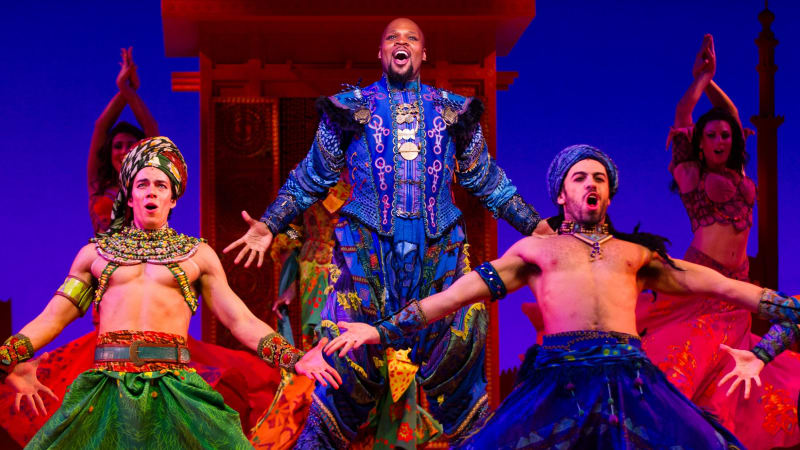 All aboard Aladdin's magic carpet for a show-stopping look behind the musical