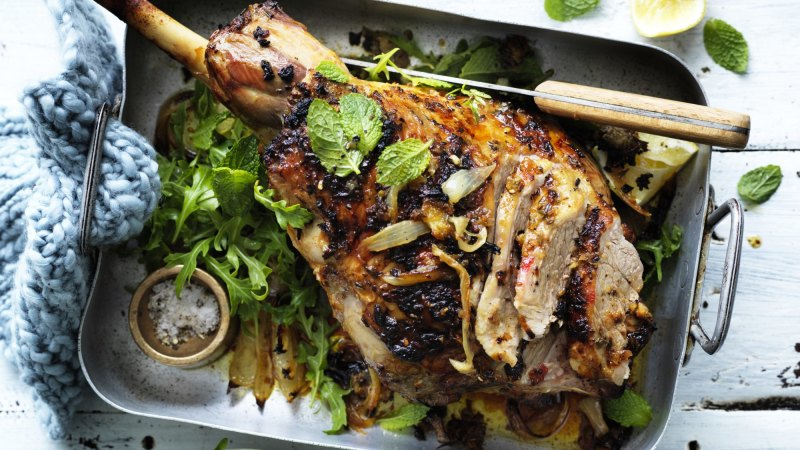 Adam Liaw's lemon-brined lamb with mint salad, and watermelon chocolate bars