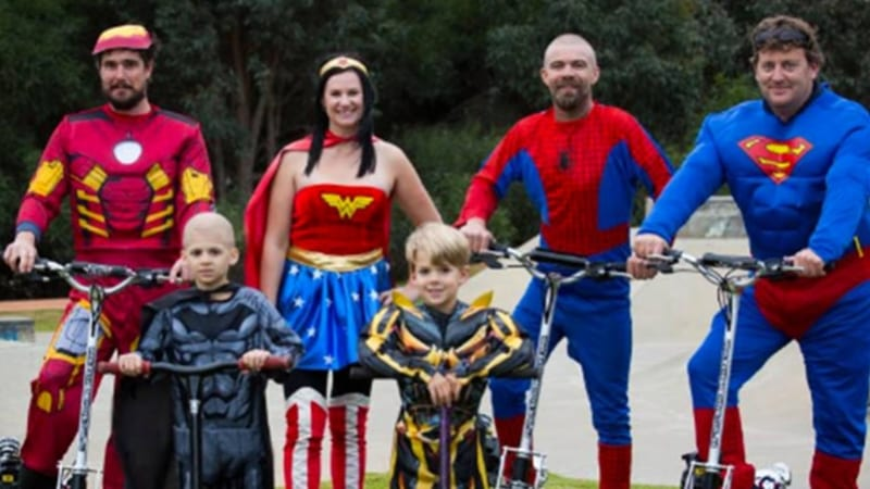 WA superheroes support kids battling cancer with 600km motorised scooter trip