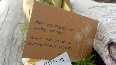 A note left for Ms Herron at the sight where her body was found.