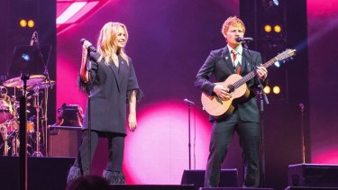 Gudinski's final coup: Kylie Minogue and English singer Ed Sheeran perform together.