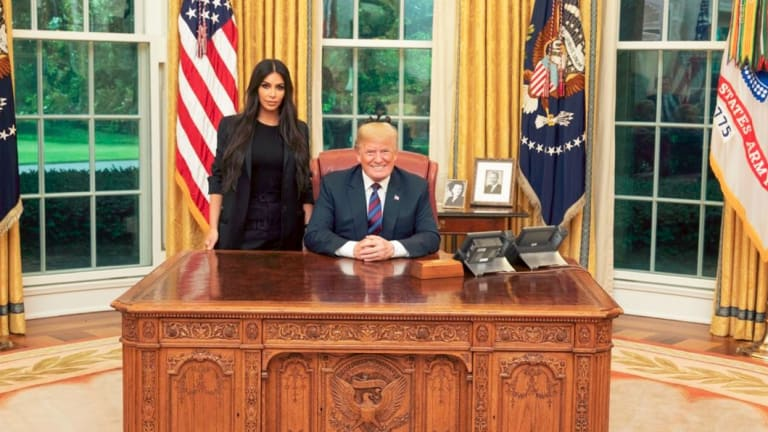 Kim Kardashian in the Oval Office with US President Donald Trump.