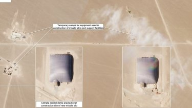 Dome structures seen over silo construction sites, seen in Planet Lab satellite photography on theFederation of American Scientists website.