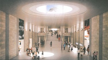 An artist's impression of what the foyer of a southern extension of the War Memorial could look like.