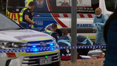 Paramedics at the scene when a teen was stabbed on Tuesday afternoon.