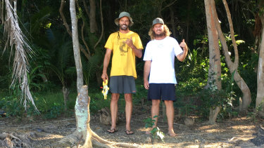 Navrin Fox and Woody Jack on one of many trips to Fiji