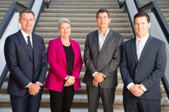 The original commissioner-assembled team of four City of Perth general managers, who were appointed in late 2019, is down to one after Chris Kopec and Anne Banks-McAllister quit at the start of the year andJayson Miragliotta's contract was terminated. Only Bill Parker, far right, remains.