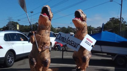 Liberal MP Craig Kelly denies intimidating climate change activist in a dinosaur suit