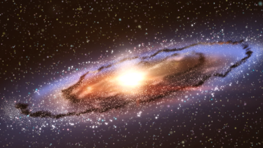 An artist's impression of the Andromeda galaxy - interstellar space cannibal.