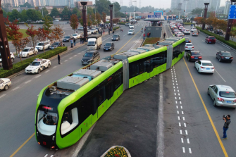A battery-powered trackless tram in the Chinese city of Zhuzhou.