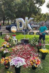 Amar Kettule at his brother's grave last year.