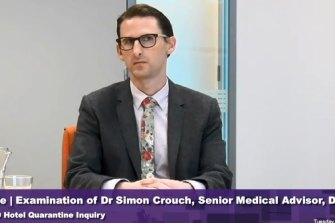 Dr Simon Crouch, a senior Health Department medical adviser, appears at the inquiry on Tuesday.