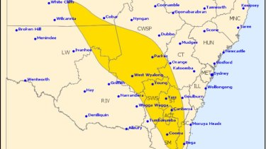 A weather warning was issued for the ACT on Friday evening.
