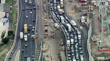 Heavy traffic heading out of Melbourne on Friday night.