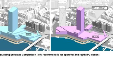 The NSW Independent Planning Commission has suggested a smaller complex to address concerns the building will overshadow the waterfront and block residents' views.