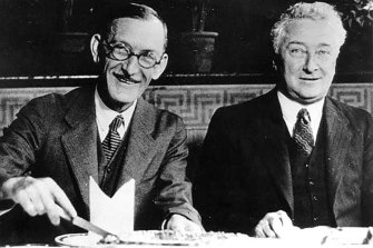 Anti-secession advocates Charles Samuel Nathan, and Joseph Lyons (Prime Minister) during in 1933.