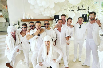Chris Hemsworth and Matt Damon on the far right at the white party in Byron Bay.