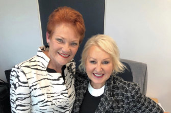 Pauline Hanson and Prue MacSween meeting in Senator Hanson's offices.