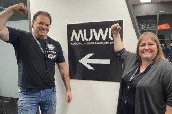 John Setka with Jennifer Marriott from the new municipal union